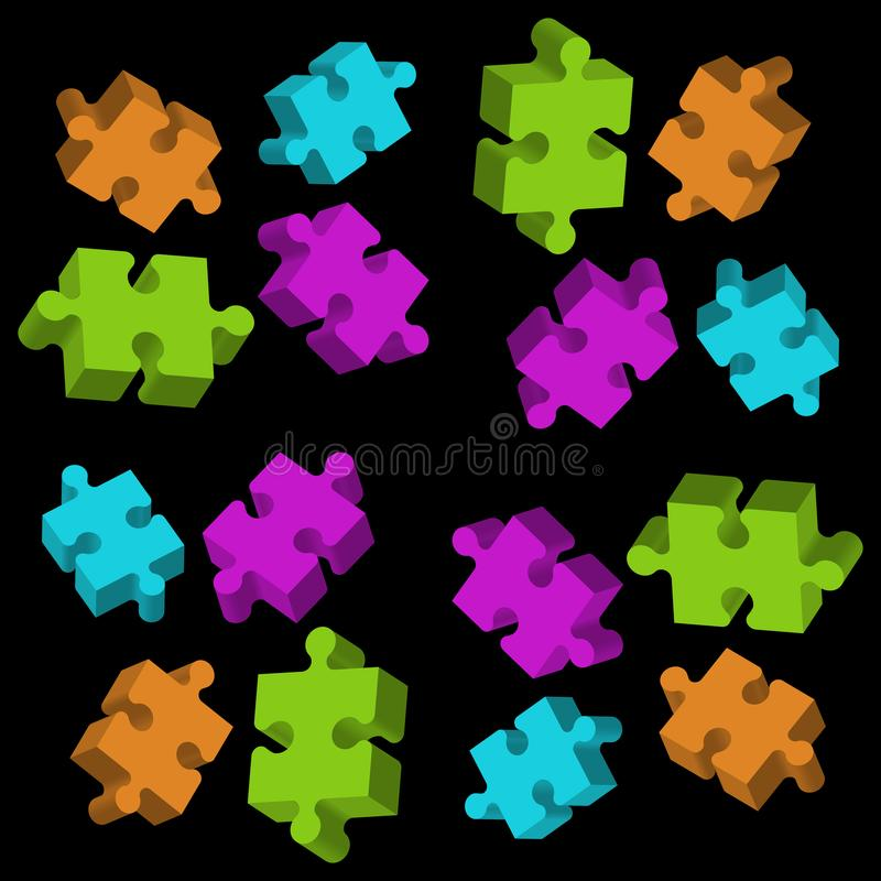 Colored 3D puzzle elements on black background royalty free illustration