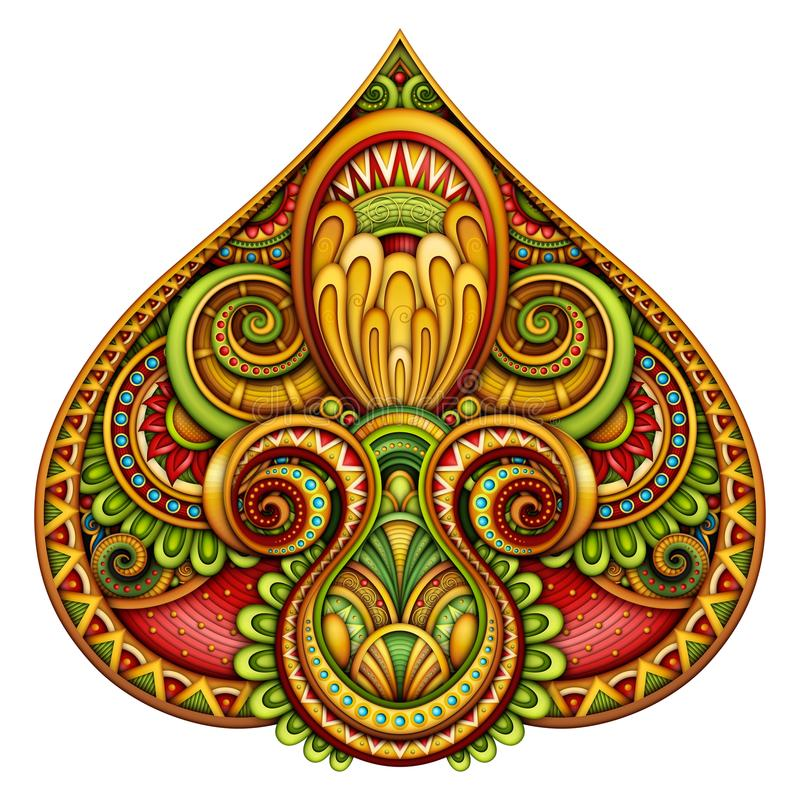 Colored Decorative Pike, Abstract Design Element stock illustration