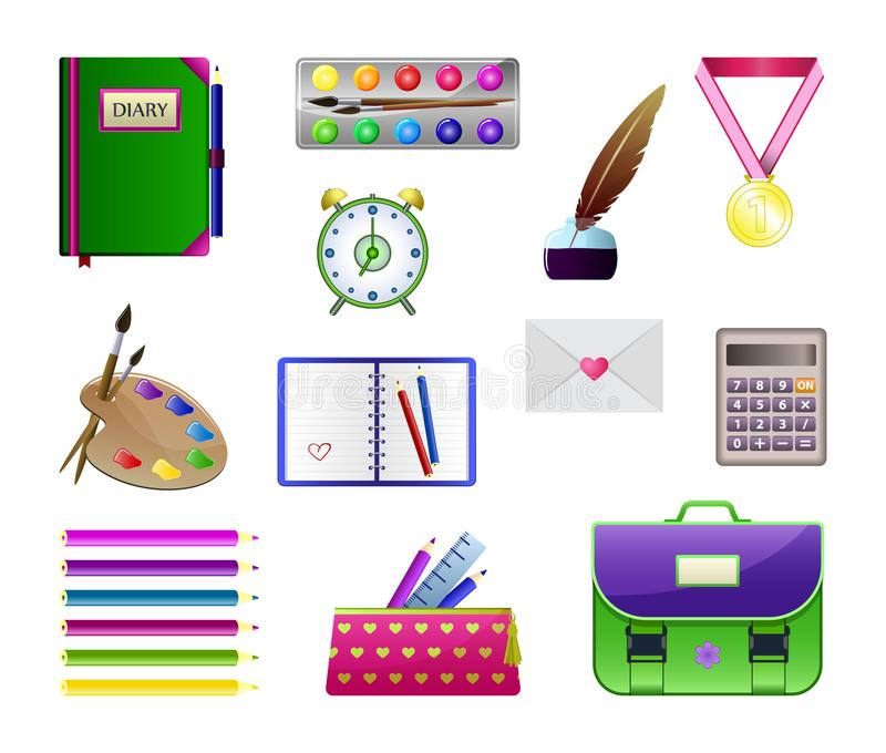 Vector school set, Illustration for school supplies and education. vector illustration
