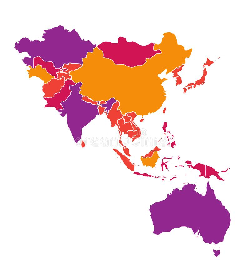 Free Colored Detailed Vector Map Of Asia Pacific Region Royalty Free Stock Photo - 175006495