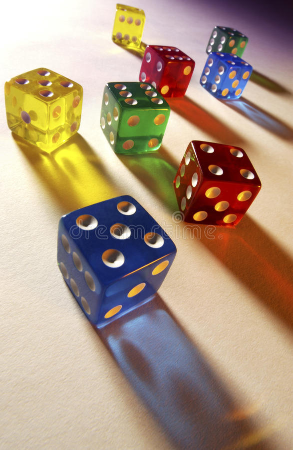 Gambling - Colored Dice - Casino stock photos