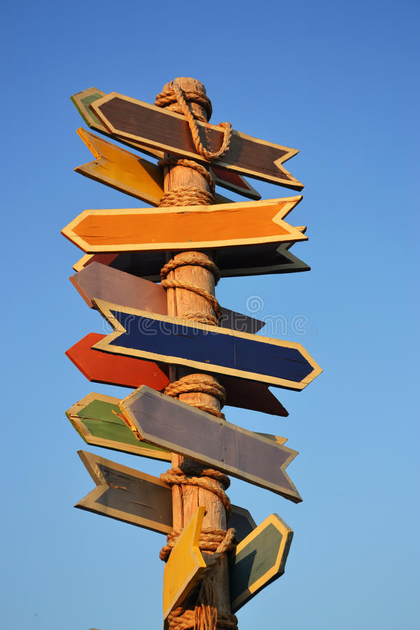 Colored direction signs royalty free stock photography