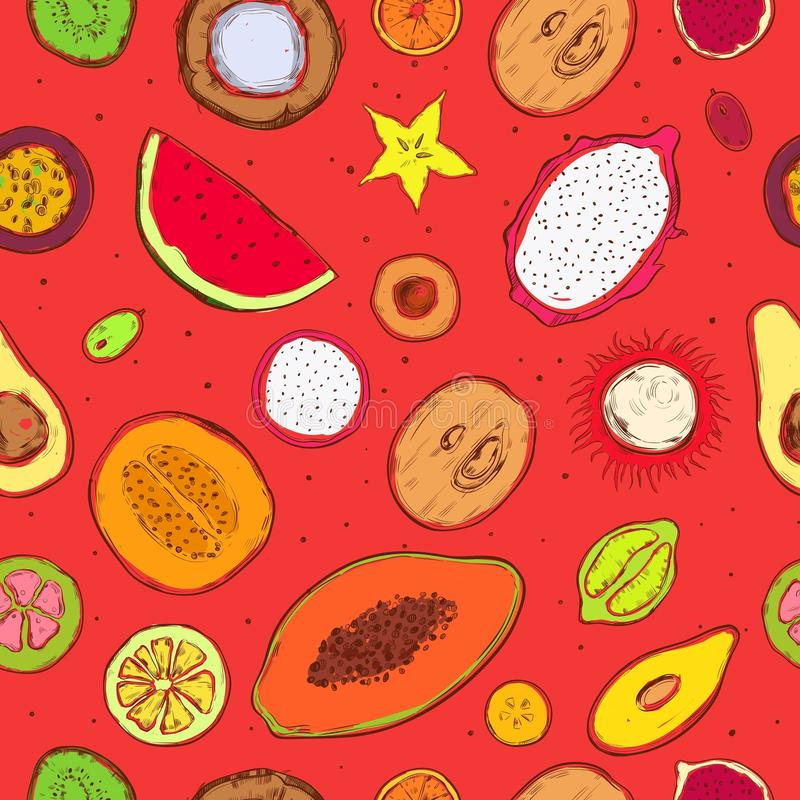 Colored Doodle Exotic Fruits Seamless Pattern stock illustration