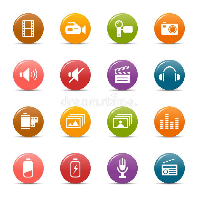 Download Colored dots - Media Icons stock vector. Image of photo - 19582558