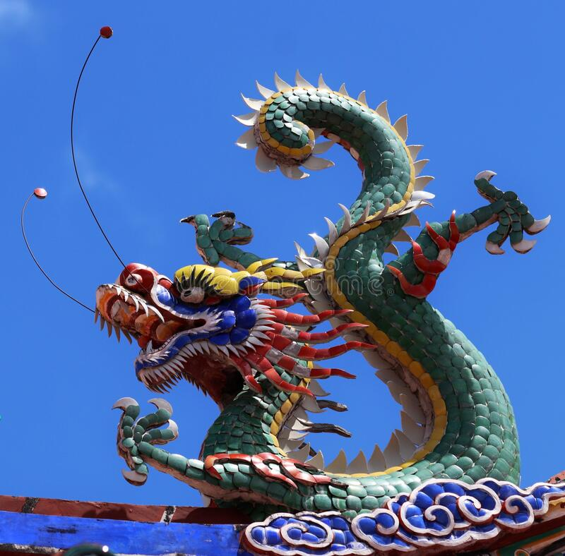 Colored dragon on a temple in Georgetown city Penang Malaysia royalty free stock photo