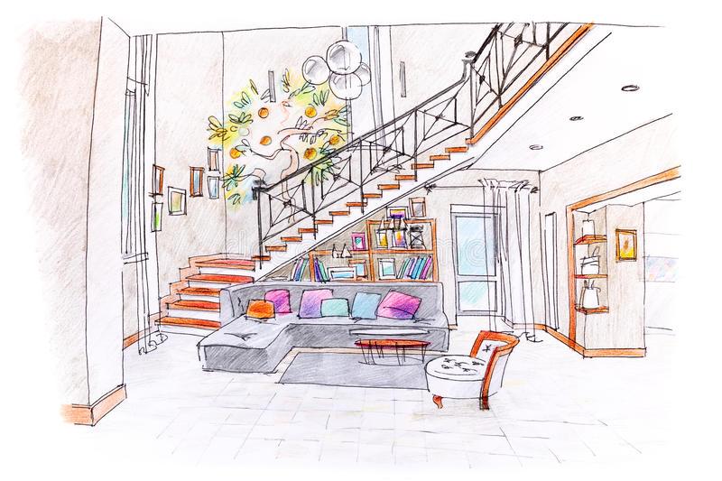 Colored drawing of modern room design blueprint of living room download colored drawing of modern room design blueprint of living room stock illustration illustration malvernweather Gallery