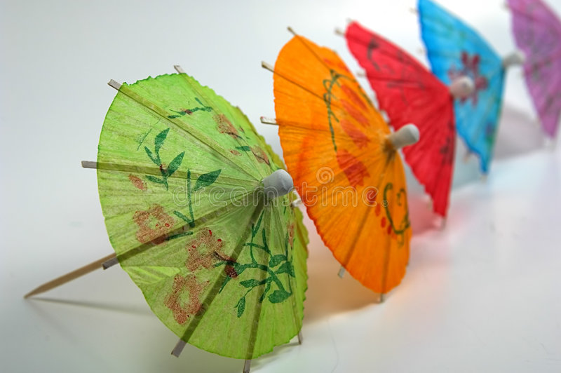 Colored Drink Umbrellas stock photos