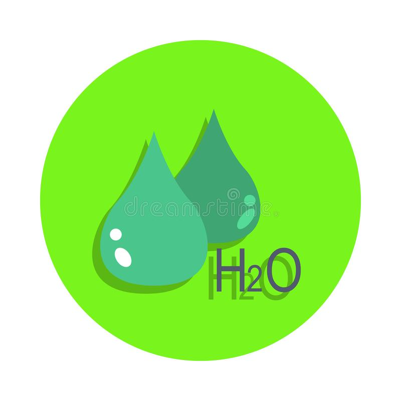 colored drop and the formula of water in green badge icon. Element of science and laboratory for mobile concept and web apps. Deta stock illustration