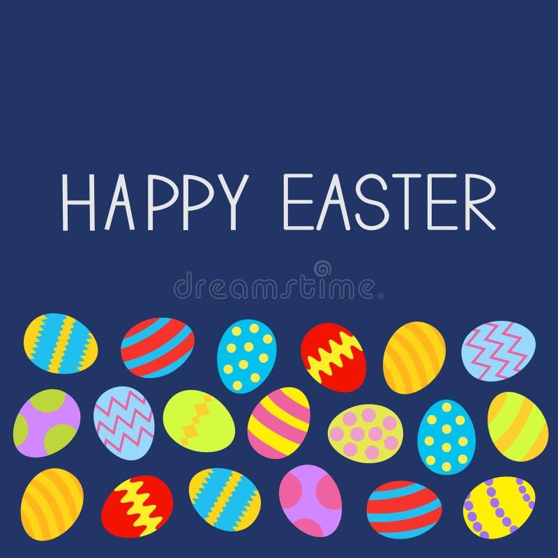 Colored Easter egg set Blue background Flat design royalty free illustration