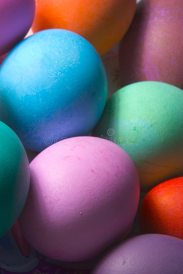 Colored easter eggs. Sidelight contrast of colored easter eggs royalty free stock photography