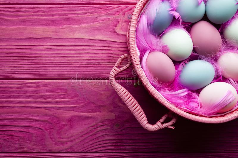Colored Easter eggs and feathers in basket on pink background stock photos