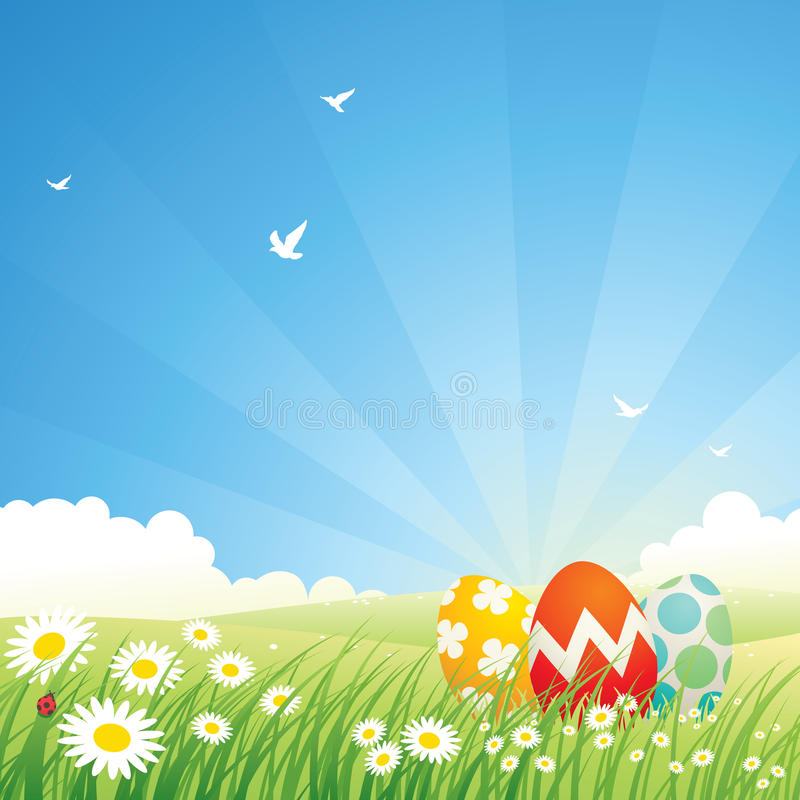 Colored easter eggs in grass royalty free illustration