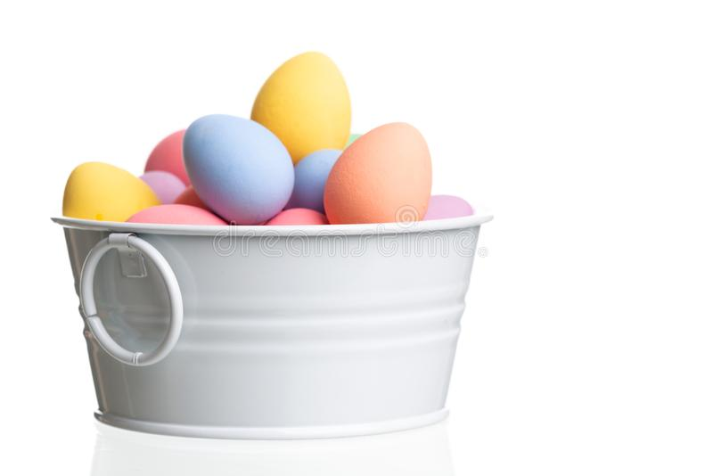 Colored easter eggs isolated on white stock photo