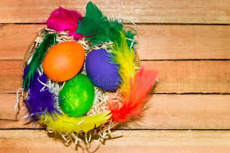 Eggs and feathers of easter colors on rustic wooden background stock photos