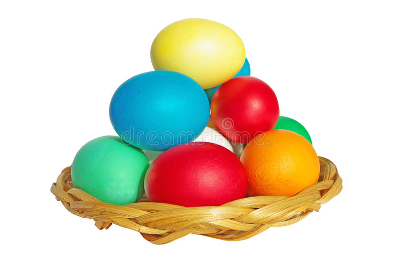 Colored Easter eggs on a plate isolated. On white royalty free stock image