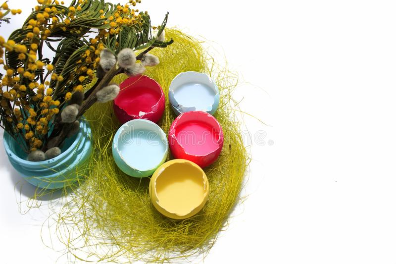 Easter eggs on a white background and a twig of willow and mimosa. Colored Easter eggs red, yellow, blue on a white background and a twig of willow and mimosa royalty free stock photo