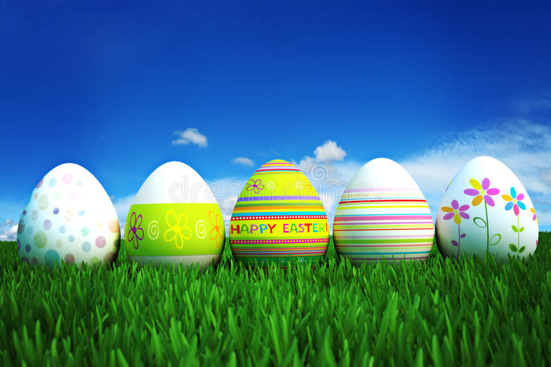 Download Colored Easter Eggs In A Row Royalty Free Stock Photos - Image: 28737058