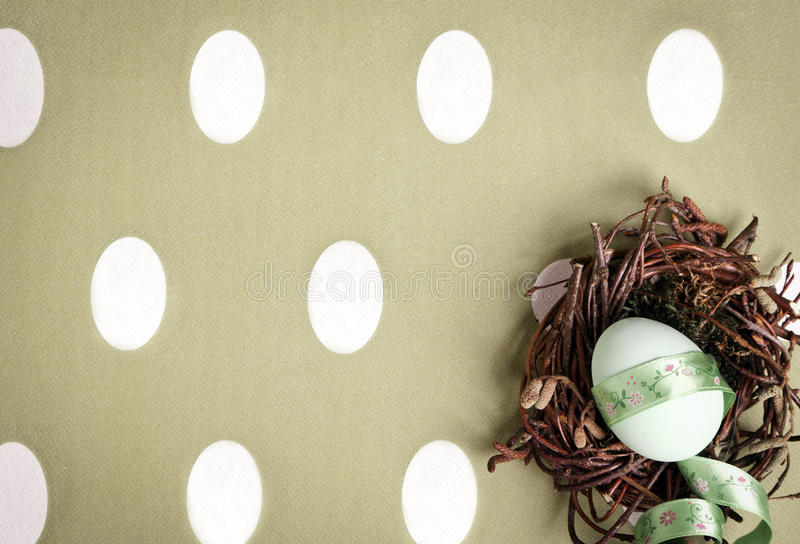 Colored Egg In A Small Nest Stock Images