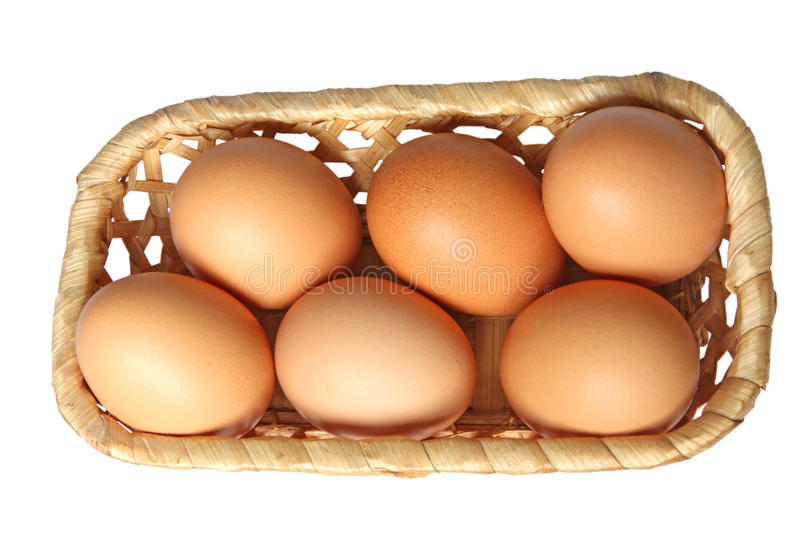 Colored Eggs In Basket. Royalty Free Stock Images