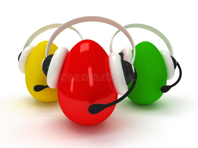 Colored eggs with headsets over white. 3d shiny eggs with headsets over white vector illustration