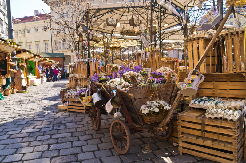 Colored eggs market at Am Hof square in Vienna just before easter. Austria stock photos