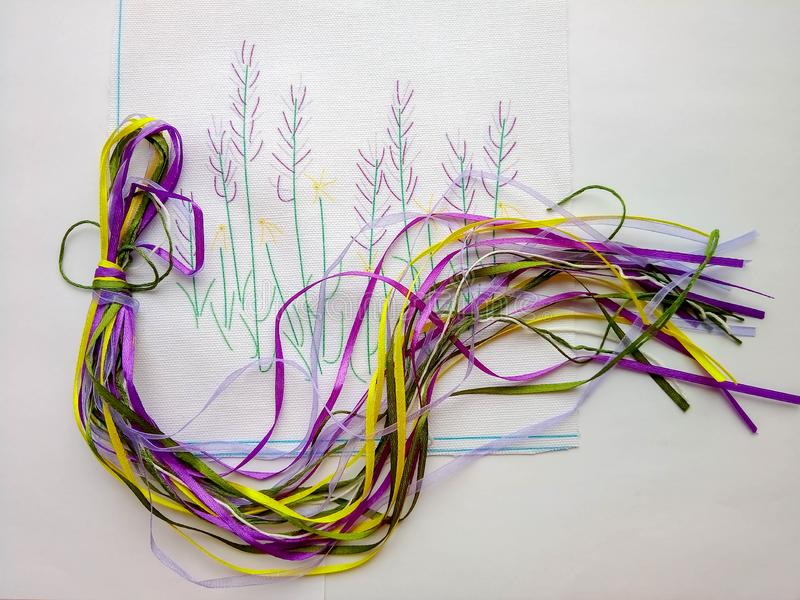 Colored embroidery ribbons handmaid hobby stock images