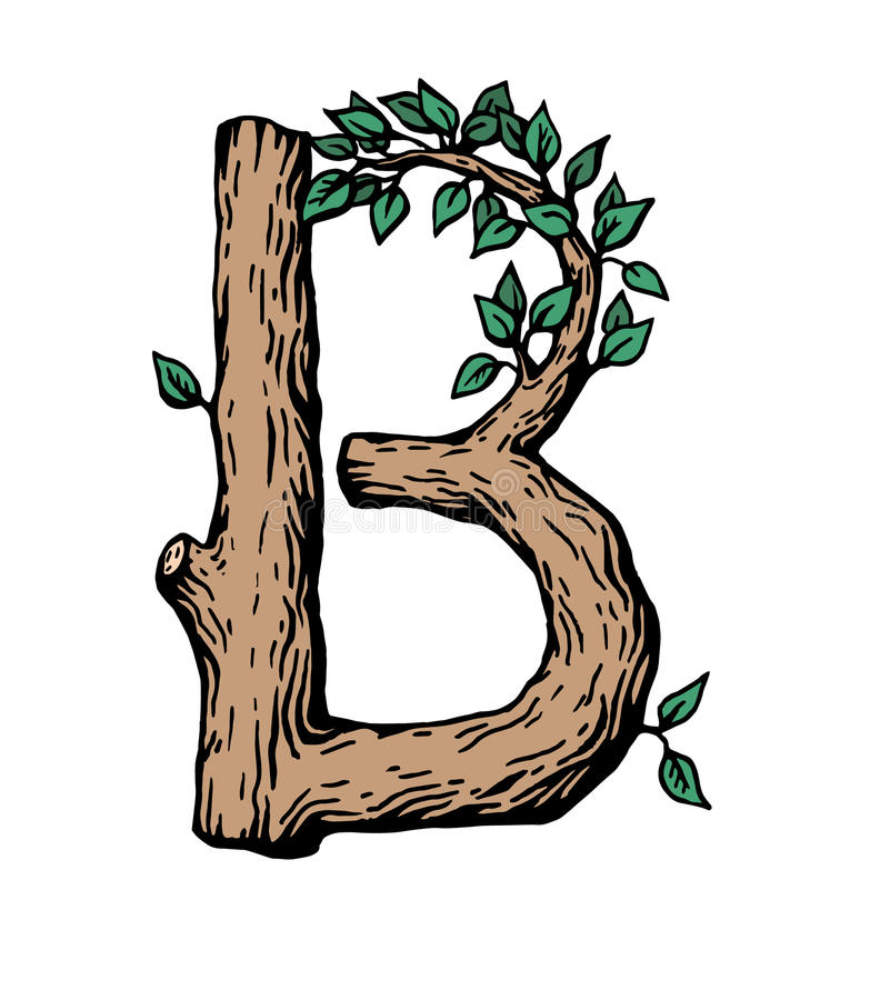 Colored engraving Letter B made of wood with leaves on the white background. Black engraving Letter B made of wood with leaves stock illustration