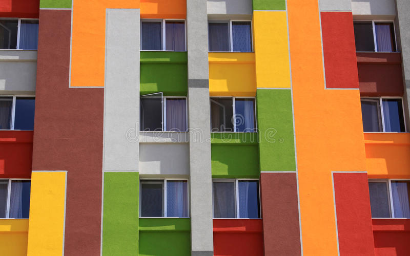 Colored facade of an apartment building. In Italy royalty free stock image