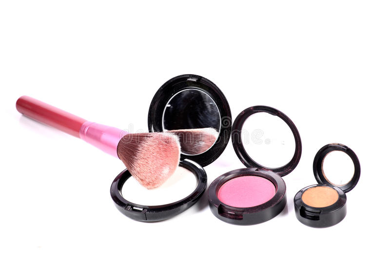 Colored face powder kits royalty free stock image