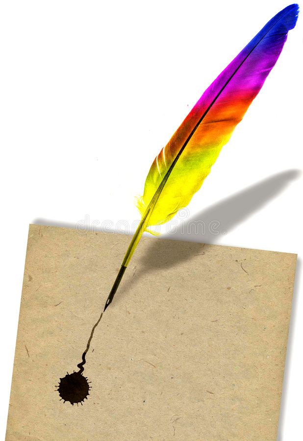 Colored feather pen. Image of colored feather pen writing on paper stock image
