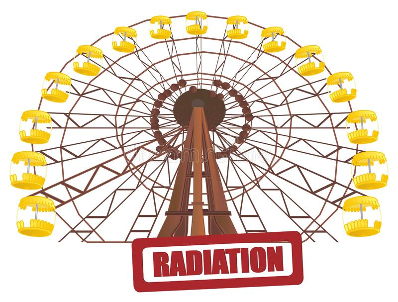 Stamp and ferris wheel. Colored ferris wheel of Chernobyl and red print of radiation vector illustration