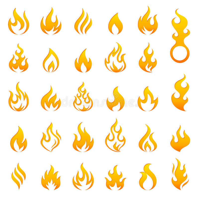 Colored Fire and Flames vector icon set royalty free illustration