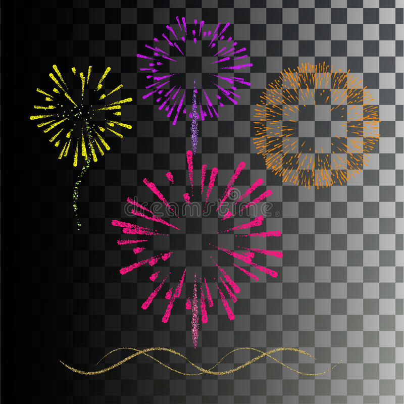 Colored fireworks. Explosion colored paints royalty free illustration