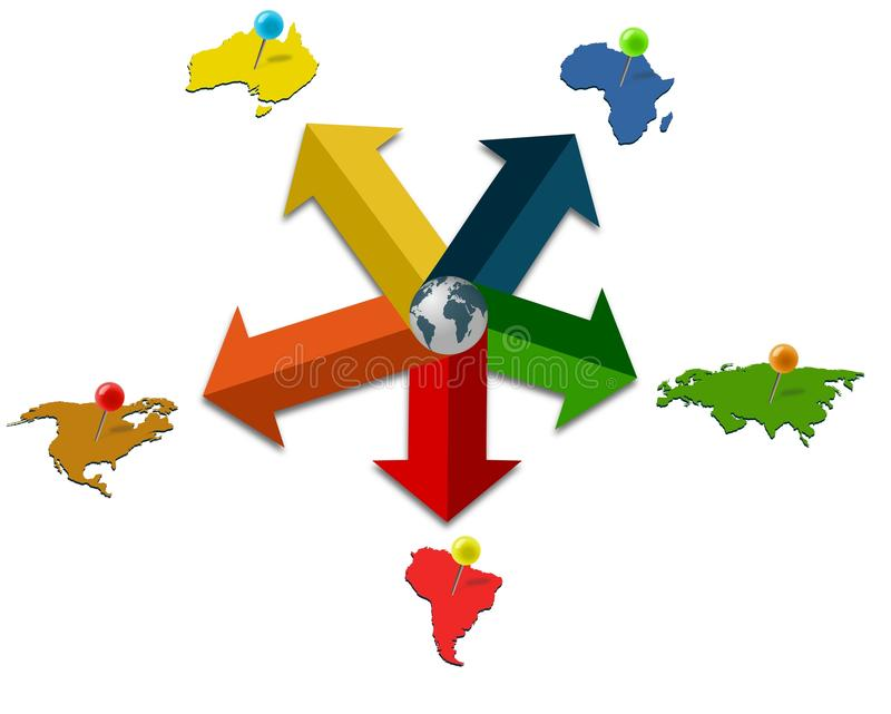 Colored five point infographic with continents tacked by pins royalty free illustration