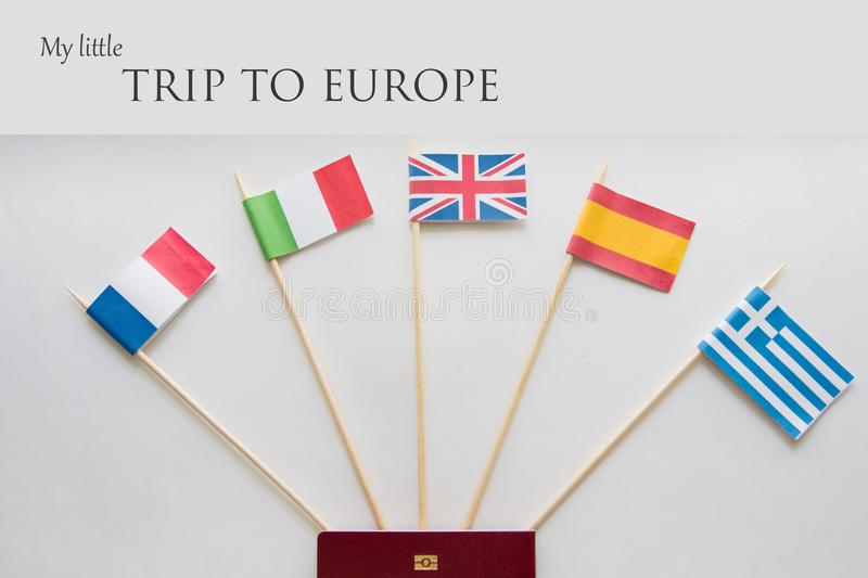 Colored flags of countries: France, Italy, England UK, Spain, Greece, travel plan. Poster with sign. Colored flags of Europian countries: France, Italy, England stock image