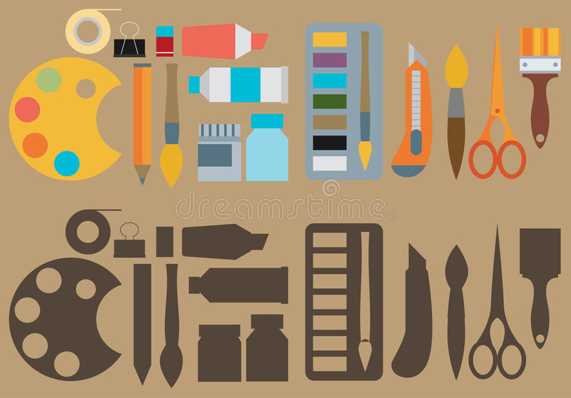 Colored flat design vector illustration icons set of art supplies, art instruments for painting, drawing, sketching isolated on b stock illustration