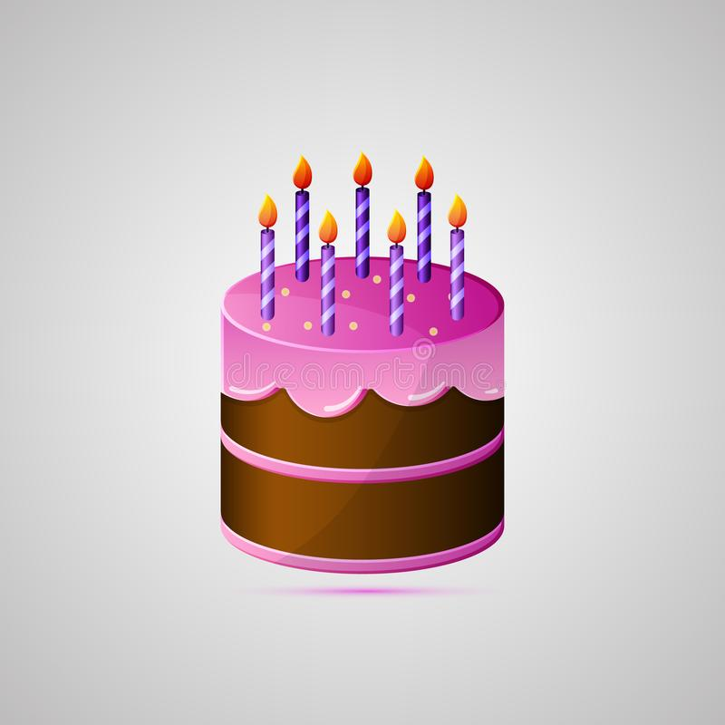 Colored Flat Icon Vector Design With Shadow Birthday Cake With