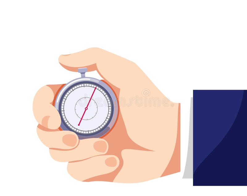 Colored flat icon, vector design with shadow. Businessman hand with stopwatch. Illustration for time, business, speed of work and diligence vector illustration