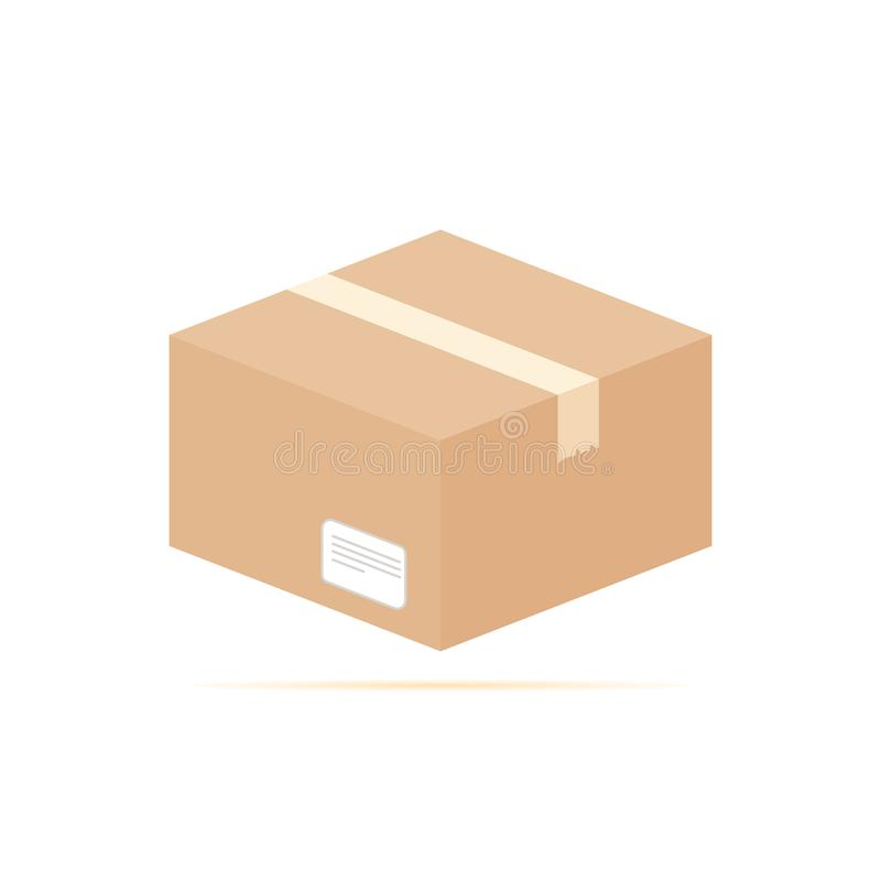 Colored flat icon, vector design with shadow. Cardboard box with label and Scotch tape vector illustration