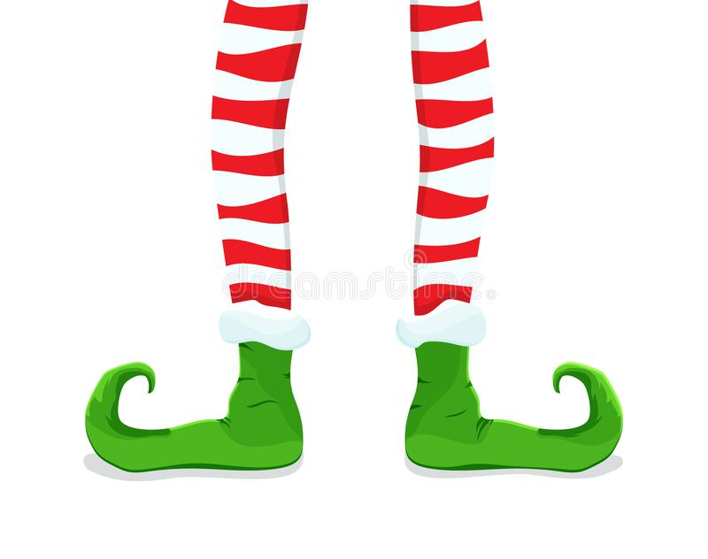 Colored flat icon, vector design with shadow. Cartoon Elf`s legs in striped stockings. stock illustration