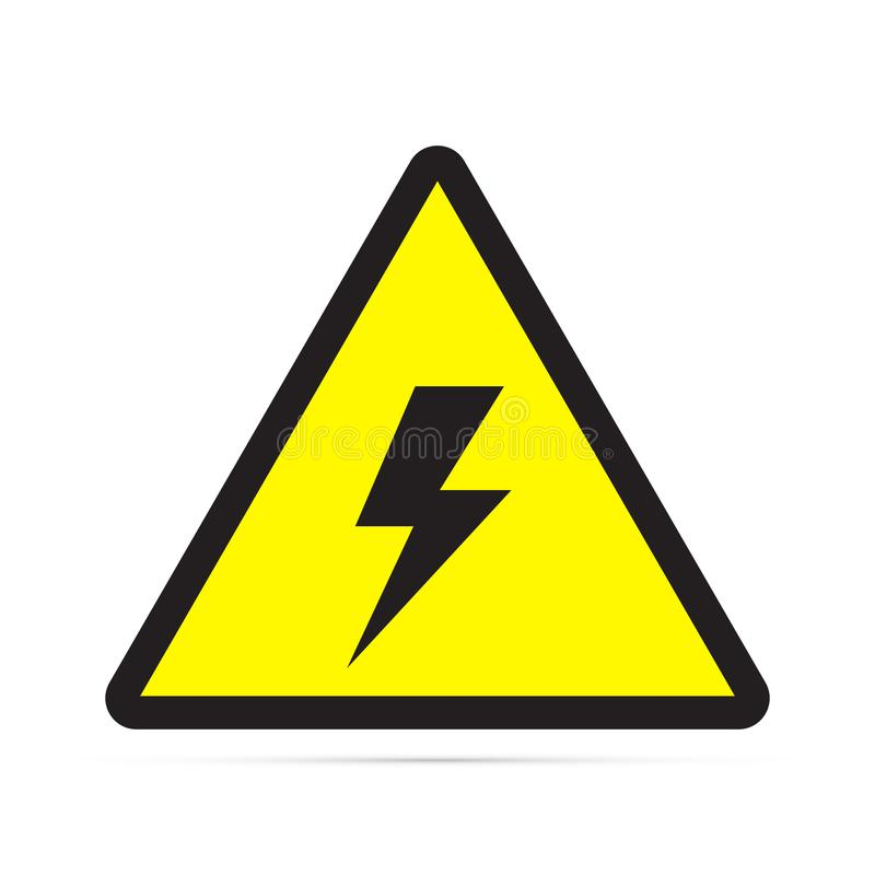 Colored flat icon, vector design with shadow. High voltage triangular warning sign vector illustration