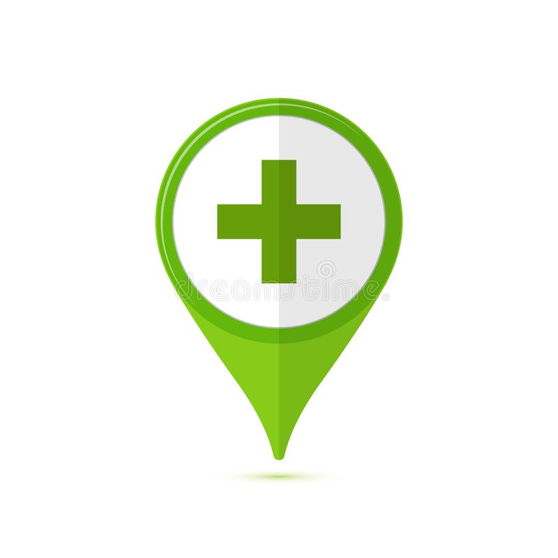 Colored flat icon, vector design with shadow. Pharmacy green poi royalty free illustration