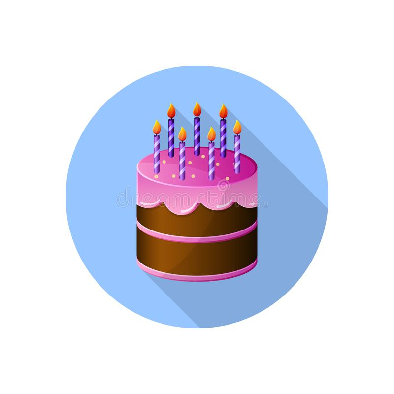 Colored Flat Icon Vector Round Design With Shadow Birthday Cake