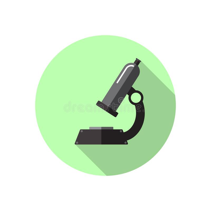 Colored flat icon, vector round design with shadow. Laboratory microscope. Illustration of laboratory, science and school lessons. vector illustration