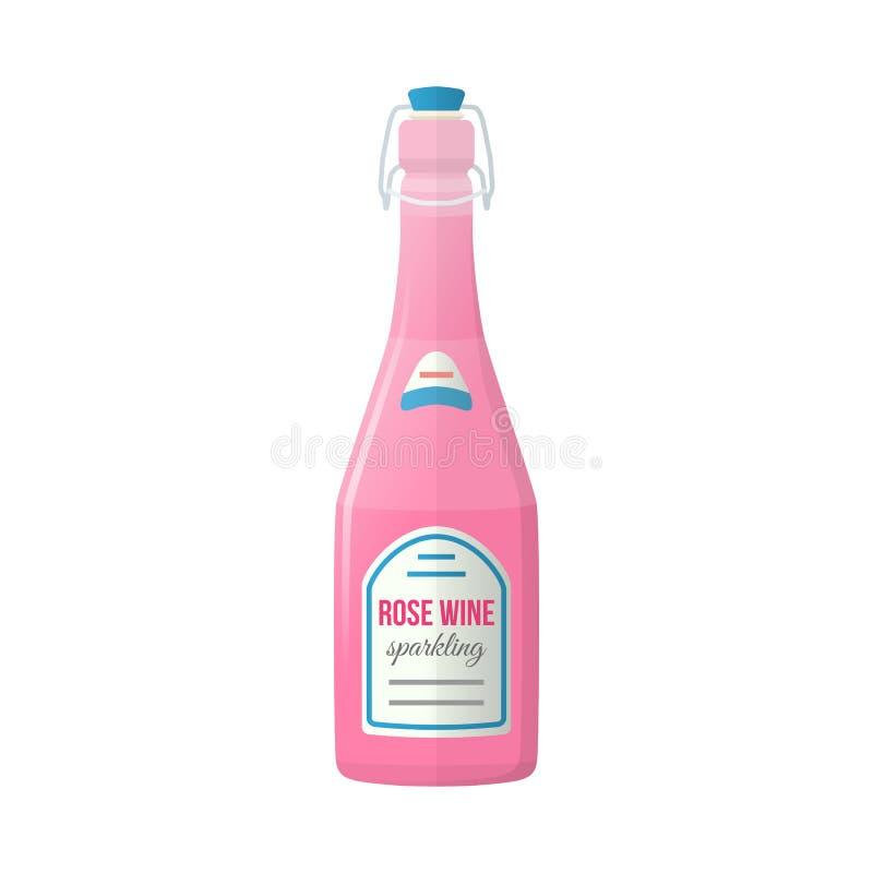 Colored flat light pink sparkling wine lightning stopper bottle vector illustration