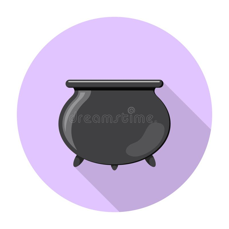 Colored flat round icon, vector design with shadow. Cartoon witches cauldron for illustration of magic, witchcraft, boiling vector illustration