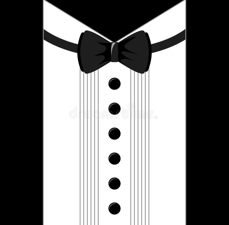Colored flat vector design. Black and white bow tie tuxedo. stock illustration