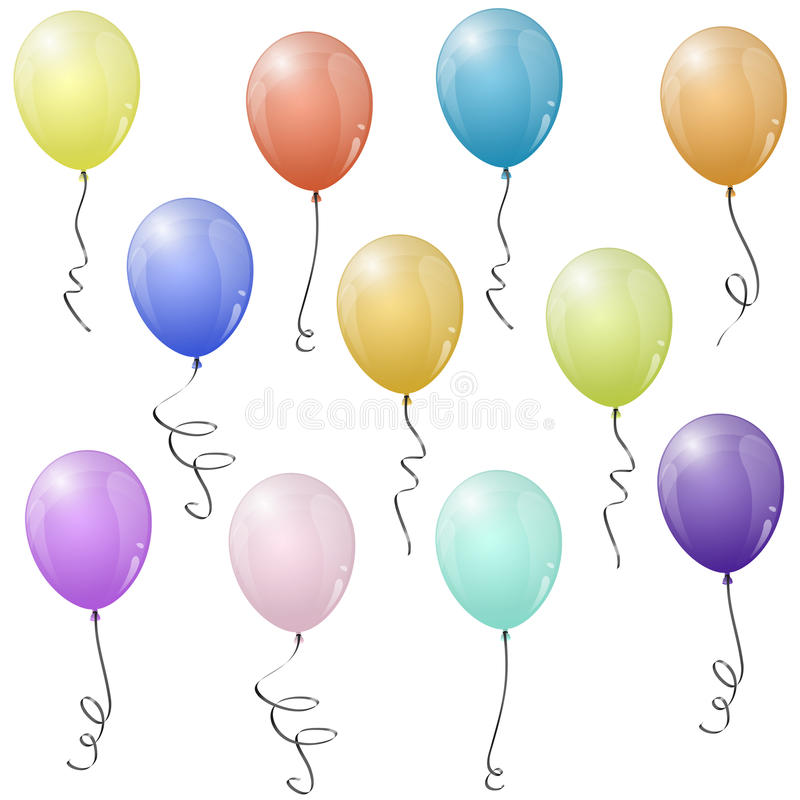 colored flying balloons royalty free illustration