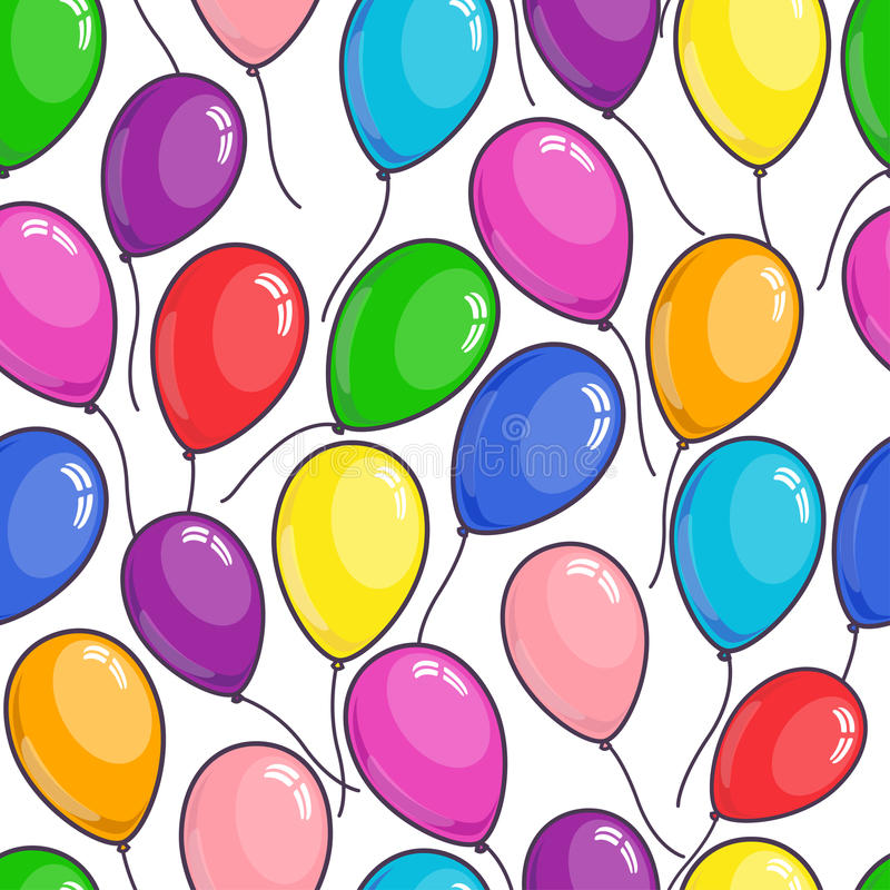 Colored flying balloons pattern. Seamless pattern colored balloons on white background. greeting, celebration, birthday pattern. Vector illustration stock illustration