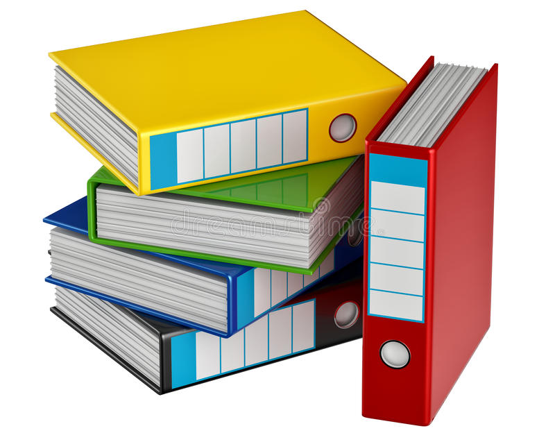 Colored folders stores important documents